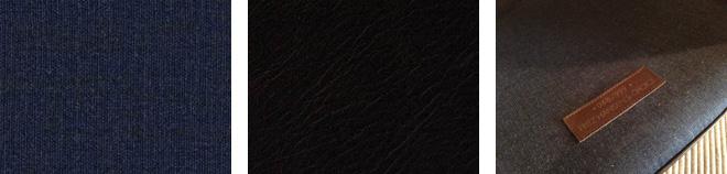 本体張地はインディゴブルーとレザーパイピングのダークブラウン。シートクッション部分にシリアルナンバーが印字されたレザーラベルが付く(右)。