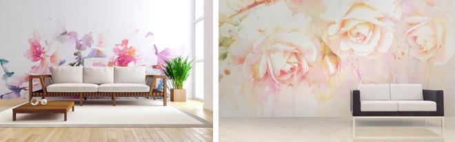 シンプルな白壁を花の絵柄で大胆にコーディネート。手軽に空間演出の変更が可能だ。
