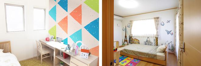 子ども部屋も壁紙を変えるだけでポップなイメージを演出。