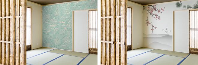 日本間も和風柄の壁紙でより個性的に演出。素材も無臭で有害物質を排出せず、環境にやさしいラテックスインクを使用している。