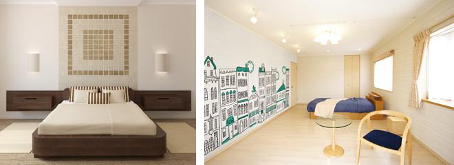 ベッドルームもタイル柄やイラストの壁紙でお気に入りの空間にすることができる。