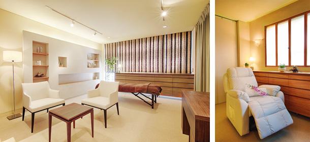 (左)テーブルと椅子2脚、ドレッサーのある最も広い施術室は15.2畳のゆったりスペース。(右)レザーの電動リクライニングから見える風景も都会の喧騒とは無縁の心地よさ。