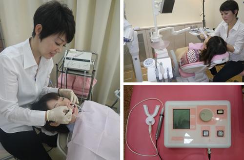 (左)口にフレームを入れ固定し、歯ぐきも保護してから施術。プロセスごとに丁寧に説明。 (右上)シェードガイドという測定器で歯の色を施術前と後で測るので効果がわかりやすい。 (右下)ホワイトニングの仕上げはフッ素イオン導入。白さも強さも虫歯にもより効果的。
