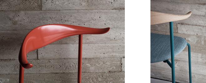 木材とスチールのコンビネーションが斬新なCH88。卓越した色のセンスにもスポットが当たる。