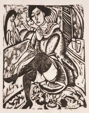 エルンスト・ルードヴィヒ・キルヒナー 《靴のボタンを掛ける女》 1913年 富山県立近代美術館蔵