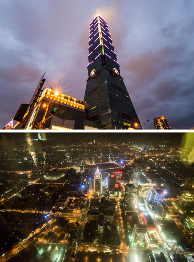 ランドマーク的な台北101。地上101階で名前はこれに由来するとか。91階の展望台からは、宝石箱のようなすばらしい夜景が見下ろせました(下)。