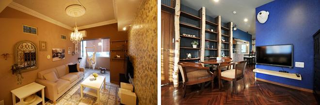 女性に人気のパリのアパルトマンのような「フレンチスタイル」(左)。ダーク系の色調インテリアの「アンティークスタイル」(右)。