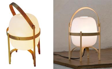 CESTA / CESTITA 楕円形のセードと木製のハンドルとフレームで構成された「ランタン」をイメージ。CESTA(左)・価格:14万5000円(税抜)、CESTITA(右)・価格:6万2000円(税抜)