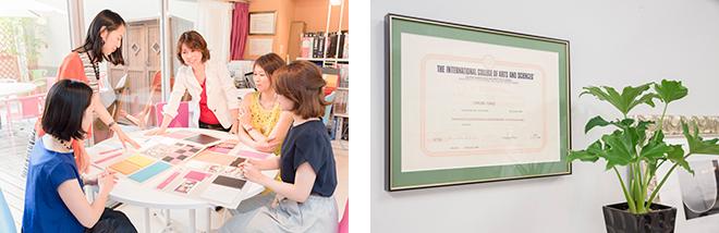 (左)打ち合わせ中の戸倉蓉子さん。(右)イタリア政府認定デザイナーの証明書。