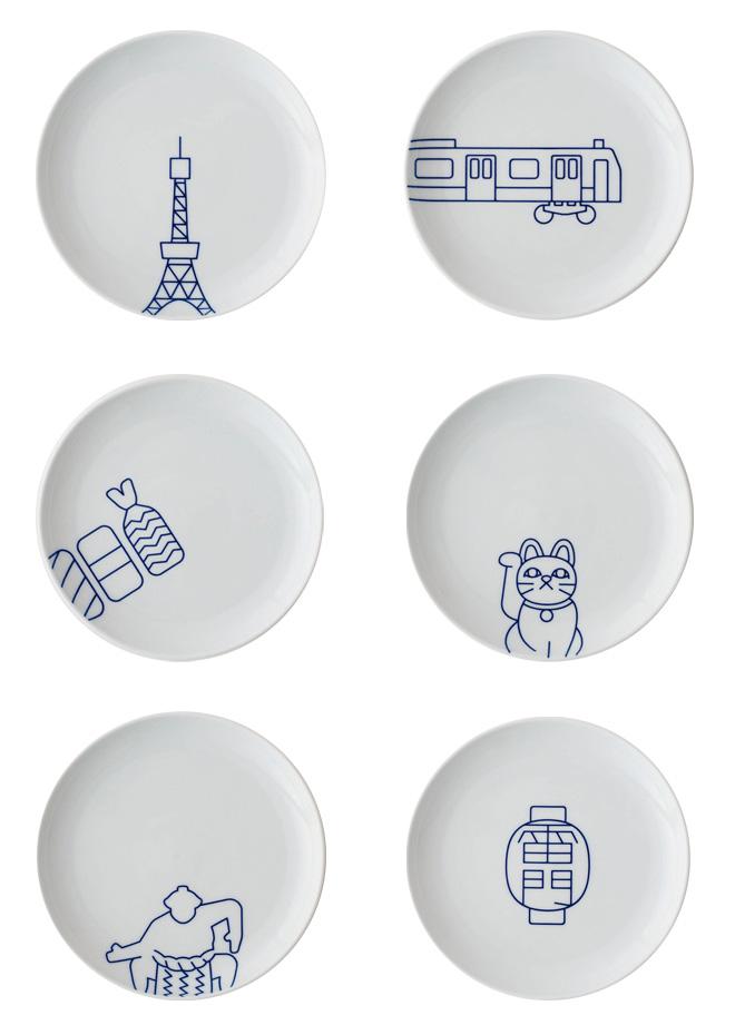 プレート(S)。価格は各1620円(税込)。 図柄は、左上から、東京タワー、山手線、寿司、招き猫、相撲、雷門。