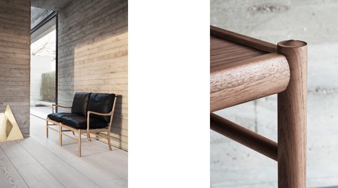 コロニアルシリーズはどれも、柔らかいカーブを描く丸みを帯びたパーツで構成され、平面的な部分は存在しない。脚部も丸脚による美しい仕上がりで、細部にまでこだわった優雅さこそオーレ・ヴァンジャーの美学となっている。