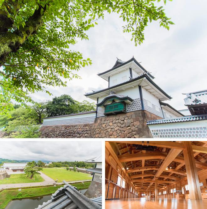 金沢城公園。現存する石川門(上)は、重要文化財に指定されています。菱櫓(下)からは金沢を一望できます。