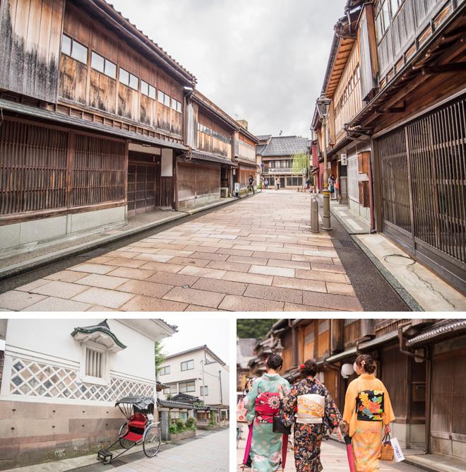 江戸時代加賀藩公認の花街、ひがし茶屋町。お茶屋や九谷焼、輪島塗、金箔のお店が並びます。