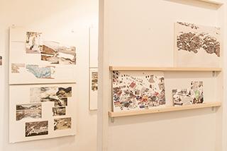 岩竹理恵氏による写真・古切手・地図のコラージュは、和室の空間を生かした展示。