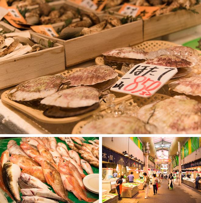 近江町市場には新鮮な魚介が並びます。北陸名産ノドグロは絶品。