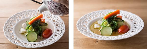 季節野菜の煮込み ハモンのカルド 1,500円 まずは立ち上る香りを胸いっぱいに吸い込みたい料理。 生ハムの奥深い味わいが染み出た出汁が野菜の滋味を優しく包む。