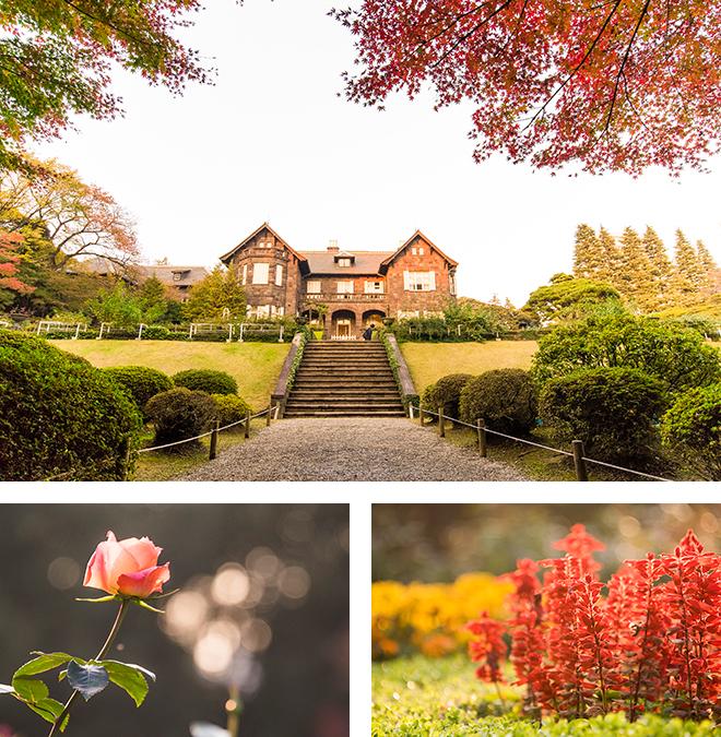 レンガ造りの洋館を囲むバラ園と花壇には色鮮やかな花たちが咲き誇っています。