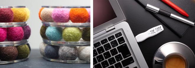 ディフューザー各種。(左)天然羊毛フェルトのアロマボンボン\3,200。 (右)パソコンに差し込めばオフィスも快適香り空間。USBアロマタイム¥1,600。