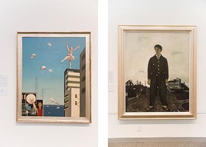 左:古賀春江《窓外の化粧》1930年。右:松本竣介《立てる像》1942年。ともに神奈川県立近代美術館蔵。