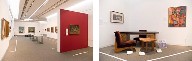 左:特に今回は、所蔵品から厳選された佐伯祐三、萬鉄五郎、古賀春江、松本竣介らの作品を展示。右:かつての館長用の机と椅子も展示。坂倉準三によるデザイン。