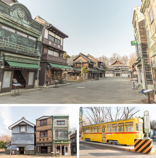 明治から昭和にかけての建物が並ぶ商店街。昭和初期に登場した「看板建築」の先には都電7500系(1962年製造)も鎮座。