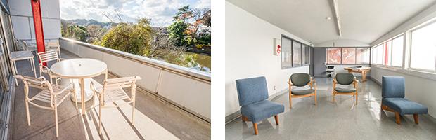 左:喫茶室のテラスからは平家池を望むことができる。右:当初、集会室だったスペースには坂倉準三が考案した椅子や製図台が展示されている。