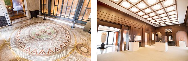 (左)玄関の床には天然大理石のカラフルなモザイクが施されています。(右)香水をたらして訪問客をおもてなしした白磁の香水塔と大広間。天井には格子縁の中に半円球の照明を配置されています。