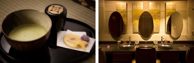 (左)京都・醍醐寺の座主の「和」という書の掛け軸がかかった茶室でいただく茶菓は、施術を受ける方だけでなく、スパの様子を内覧に来た方にももれなく振舞われる。(右)大鏡の奥に明治時代に京都で作られた屏風を飾ったパウダールーム。