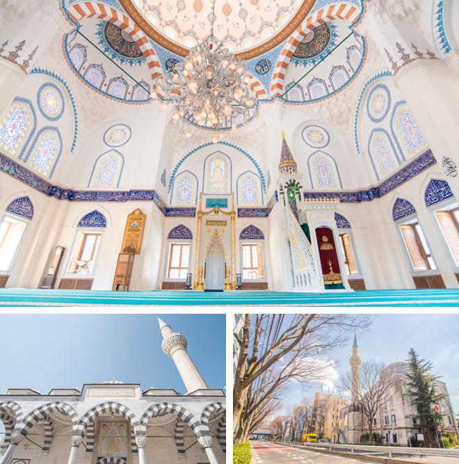 代々木公園から代々木上原を抜ける井の頭通りに美しくそびえるモスク、東京ジャーミイ・トルコ文化センター。トルコブルーを基調としたステンドグラスやタイルの美しさに目を奪われます。