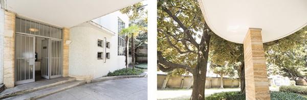エントランスには、モダニズム建築とアール・デコの特徴(直線と円)が凝縮されています。