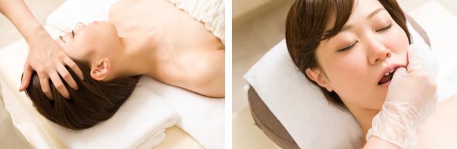 (左)頭のハチが張っているのは、寝ているときにくいしばりをして力が入っているからだとか。首や肩のコリもくいしばりが原因のことが多い。(右)くいしばりや噛み癖で固まった外からはアプローチできない口内の筋肉をほぐす。歯並びには影響を与えないそう。