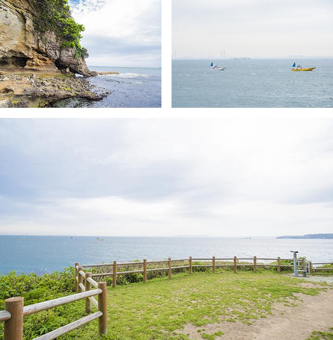 島の岩場は絶好の釣りスポット。洞窟の中には弥生時代の貝塚も発見されています。島の西側の高台からは房総半島が見えます。