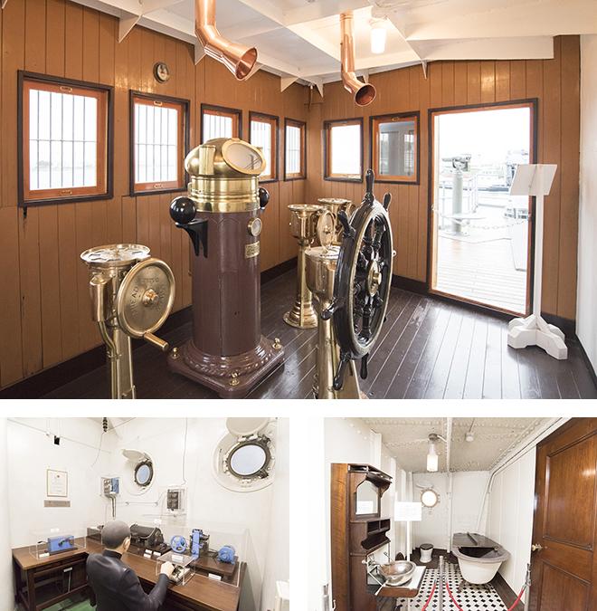 フェリー乗り場の横にある記念艦三笠。日露戦争で活躍した戦艦です。操舵室や無線室、士官用浴室などを見ることができます。