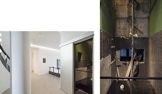 元暗室だった狭い部屋には、配管を活かした、須田悦弘氏の『此レハ飲水ニ非ズ』2001年。)