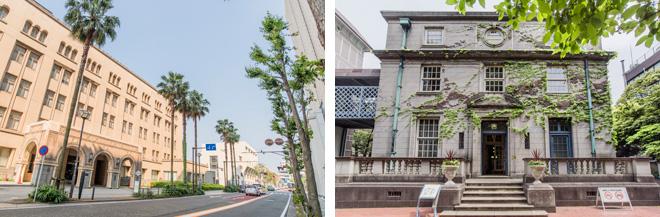 (左)横浜税関庁舎のエントランス。(右)横浜開港資料館旧館(旧英国総領事館)。