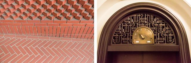 (左)横浜開港資料館旧館(旧英国総領事館)の赤レンガ。(右)神奈川県庁本庁のレトロ