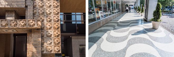 (左)正方形が重なって突起したレンガの綜通横浜ビル(旧本町旭ビル)。(右)さざ波を思わせるようなシルクセンターの外廊下。