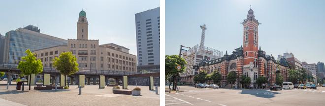 (左)横浜税関本関庁舎のクイーンの塔の高さは約51m。(右)横浜市開港記念会館のジャックの塔の高さは約36m