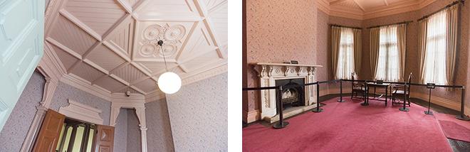 1階の婦人客室に比べて、2階の婦人客室は明るい雰囲気。