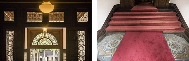 (左)正面玄関にあるステンドグラス。(右)玄関タイル。コンドルの設計にはイスラム建築の要素が多く見られる。
