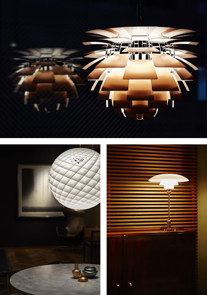 デンマークを代表する照明の逸品も多数揃っている。