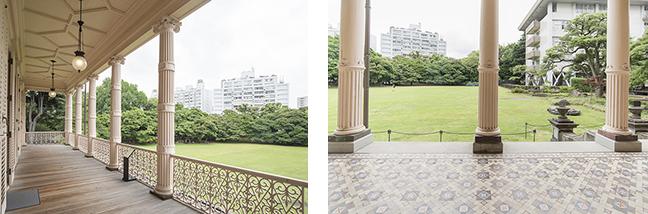 2層の列柱が特徴のコロニアル様式のベランダ。1階と2階では様式・デザインを変えている。