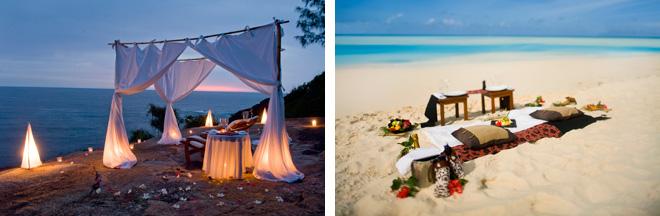 (左)ビーチにセッティングされたテーブルで、ロマンティックなディナーを。<br /> (右)リクエストすれば美しいビーチでピクニック・ランチも楽しめる。