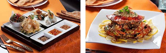 食欲を刺激するタイ料理、地中海料理、本場インドネシアの味など、グルメをうならせる国際色豊かなメニューが揃う。