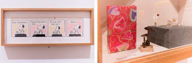 (左)直筆のバレンタインメッセージが記された着彩された原画。(右)亡くなる間際に渡されたプレゼントは包装紙のまま。