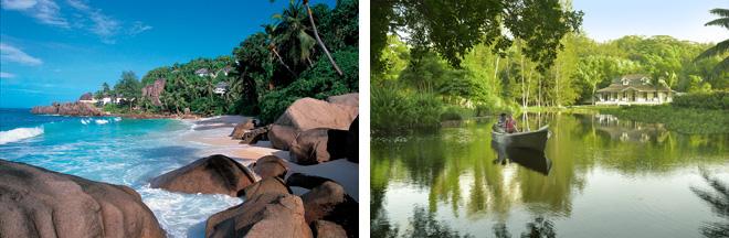 (左)花崗岩の島らしく、巨大な岩がビーチの造形を担っている。ウミガメも産卵に来るほど、手つかずの自然が残っている。 (右)濃い熱帯雨林包まれたマヘ島南部。国を挙げて自然の環境保護を推進している。