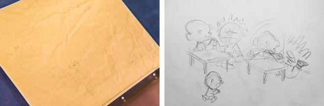 (左)シュルツ氏が捨ててしまったイラスト。くしゃくしゃのシワが残っています。(右)貴重なデッサン。