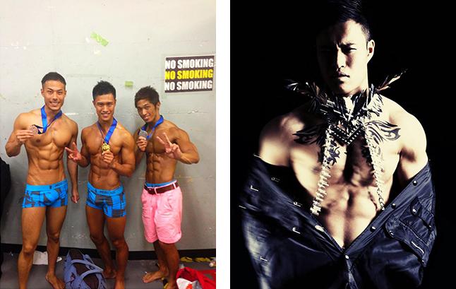(左)2013年、第2回ボディジャパン東京大会で優勝。(右)モデルとしても活躍