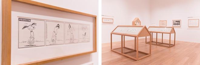 (左)原画ならではの直筆のタッチをじっくりと堪能できます。(右)展示ケースはスヌーピーの小屋の形。