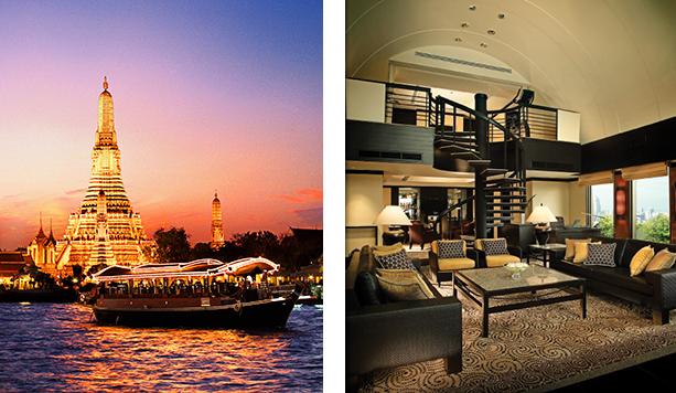 (左)夕暮れ時の幻想的なチャオプラヤ川とワット・アルンの美しさは格別。 (右)高層階のプレジデンシャルスイート。美しいバンコクの街を眺望できる。